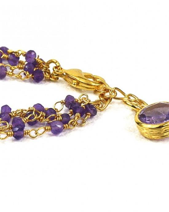 Amethyst Gold Plated Bracelet