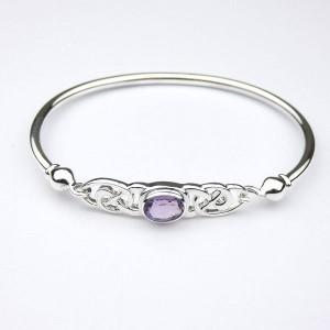 Amethyst Silver Celtic Bracelet