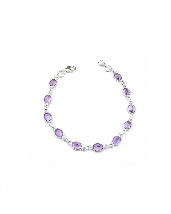 Amethyst Silver Chain Bracelet - BRACELETS & BANGLES