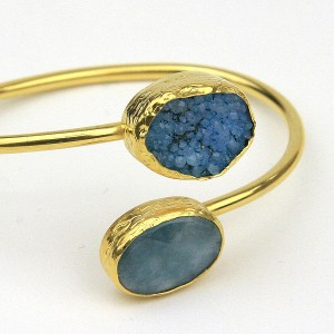 Aquamarine Druzy Gold Plated Bangle