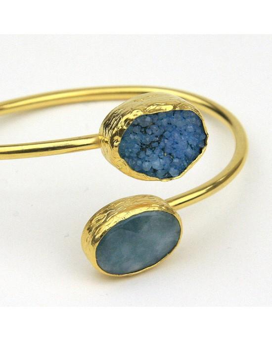 Aquamarine Druzy Gold Plated Bangle - BRACELETS & BANGLES