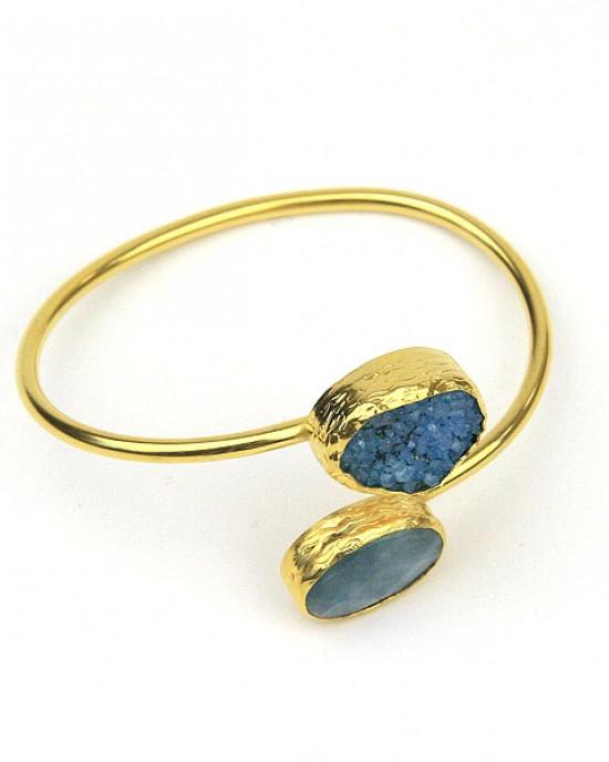 Aquamarine Druzy Gold Plated Bangle