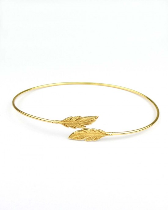 Silver Feather Bangle, Gold Plated