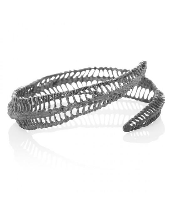 Curved Oxidised Silver Bracelet - BRACELETS & BANGLES