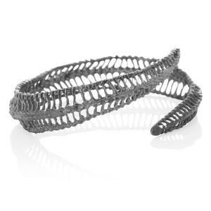 Curved Oxidised Silver Bracelet