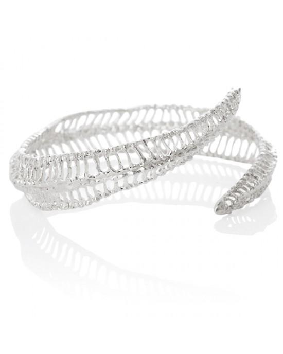 Curved Silver Bracelet - BRACELETS & BANGLES