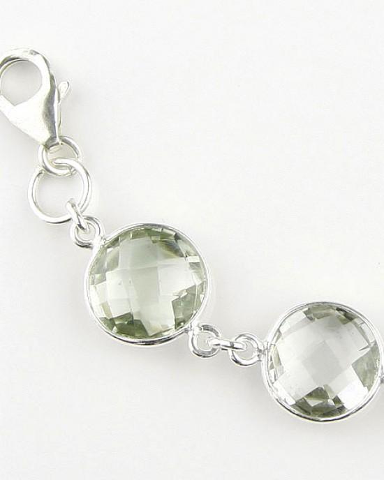 Green Amethyst Silver Bracelet
