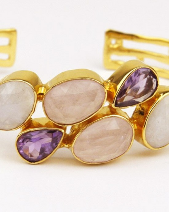 Gold Plated Bracelet with Amethyst Moonstone Quartz
