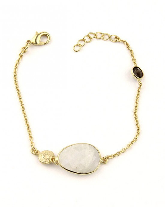 Gold Plated Bracelet with Moonstone Smoky Quartz