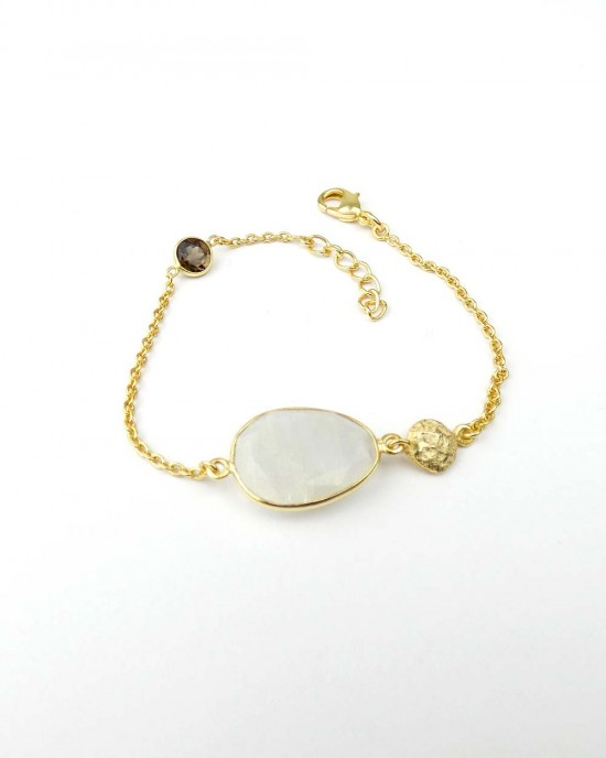 Gold Plated Bracelet with Moonstone Smoky Quartz