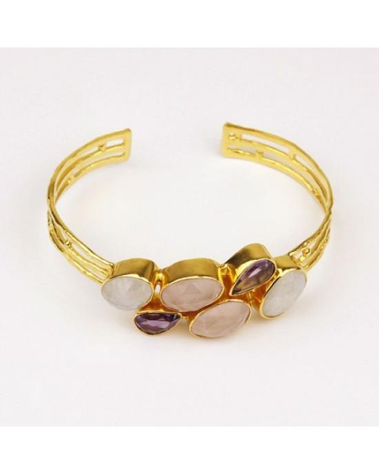 Gold Plated Bracelet with Amethyst Moonstone Quartz - BRACELETS & BANGLES