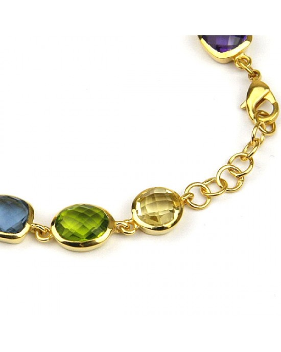 Gold Plated Bracelet with Coloured Stones - BRACELETS & BANGLES