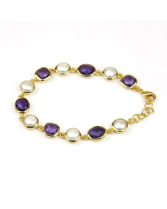 Gold Plated Bracelet with Freshwater Pearls Amethysts - BRACELETS & BANGLES