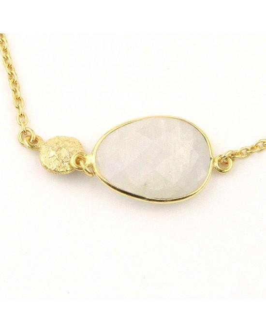 Gold Plated Bracelet with Moonstone, Smoky Quartz - BRACELETS & BANGLES