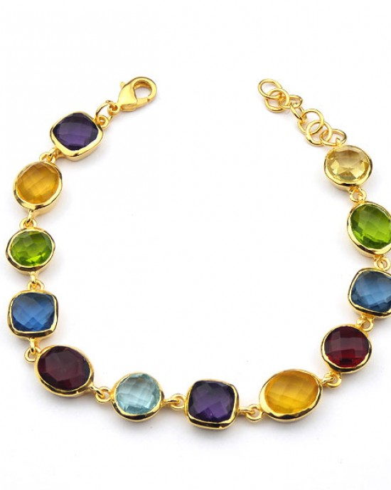 Gold Plated Bracelet with Coloured Stones