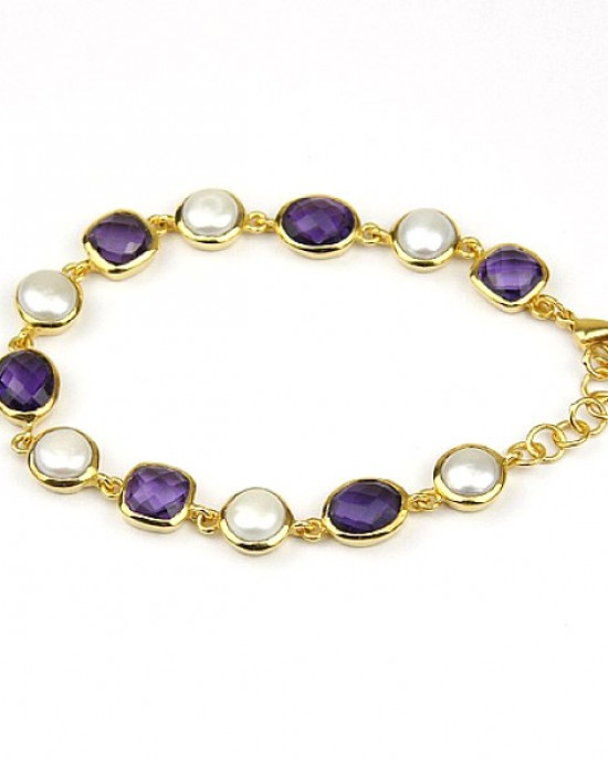 Gold Plated Bracelet with Freshwater Pearls Amethysts