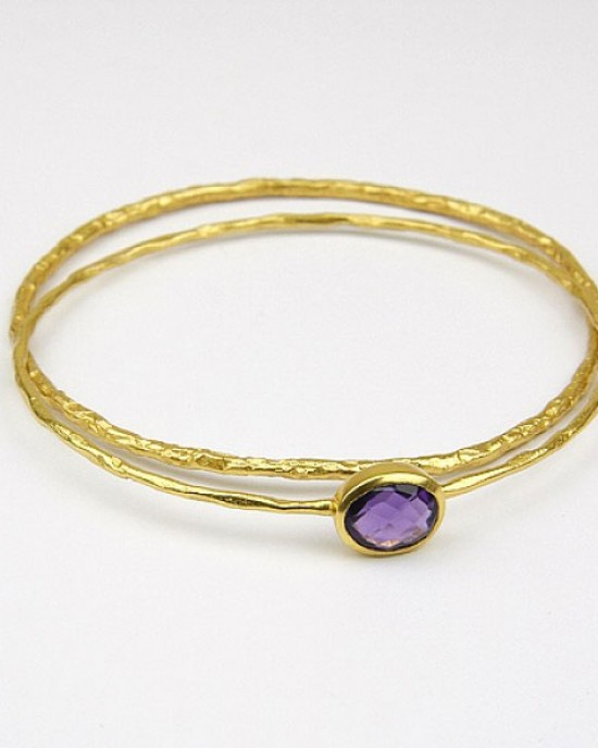 Gold Plated Bangles with Purple Stone