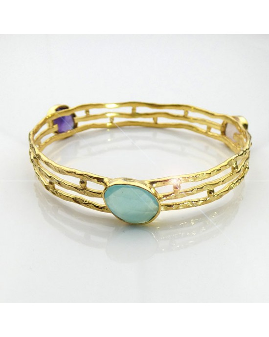 Gold Plated Semi-precious Gemstone Bracelet - BRACELETS & BANGLES