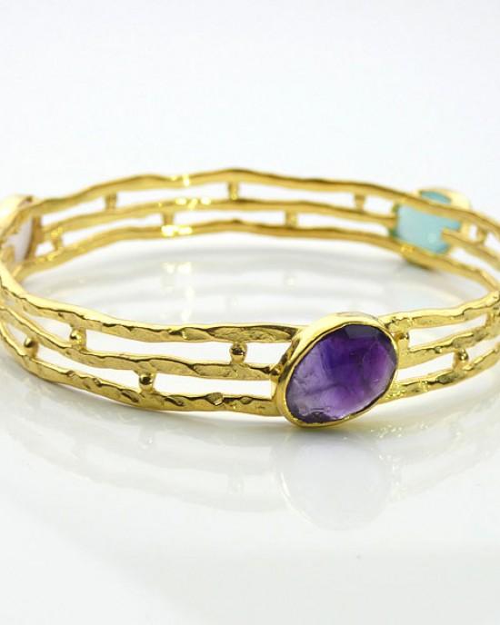 Gold Plated Semi-precious Gemstone Bracelet