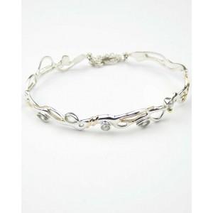 Green Amethyst Pearl Silver Bracelet