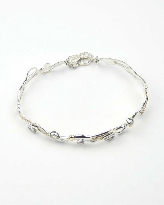 Green Amethyst Pearl Silver Bracelet - BRACELETS & BANGLES