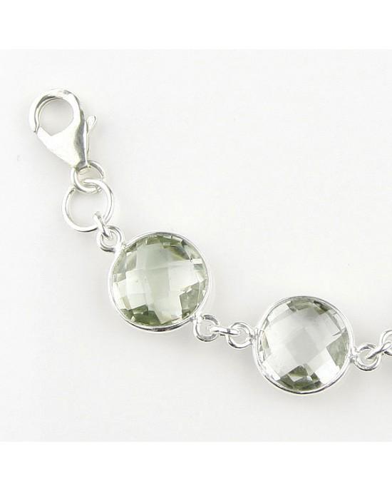 Green Amethyst Silver Bracelet - BRACELETS & BANGLES