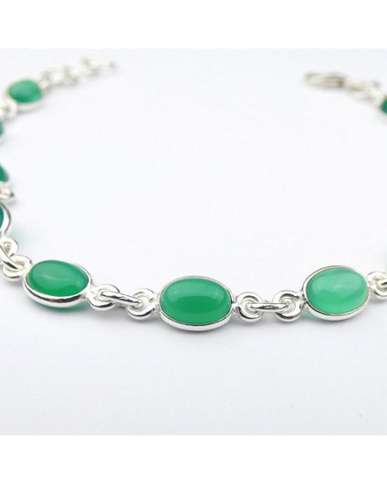 Green Onyx Silver Bracelet - BRACELETS & BANGLES