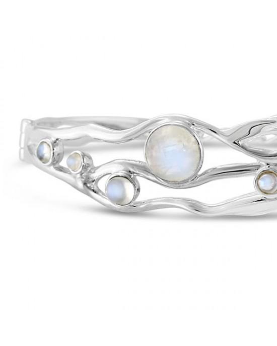 Moonstone Silver Bangle - Bracelet - BRACELETS & BANGLES