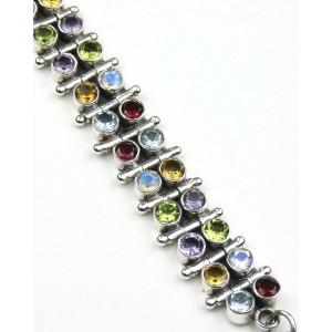 Mixed Stone Silver Bracelet