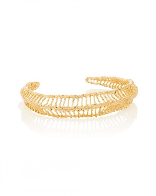 Open Weave Gold Plated Silver Bracelet - BRACELETS & BANGLES