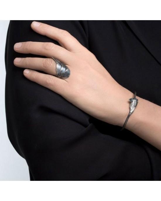 Oxidised Silver Bracelet SWAN - BRACELETS & BANGLES