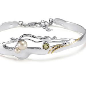 Pearl Green Amethyst Goldfill Silver Cuff Bracelet