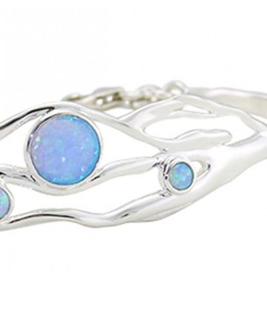 Blue Opalite Silver Bangle