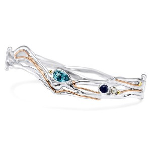 Silver Bangle with Blue Topaz, Iolite & Freshwater Pearl