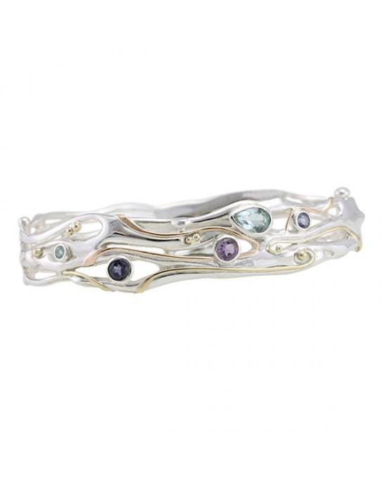 Silver Bangle Topaz Iolite Amethyst - BRACELETS & BANGLES