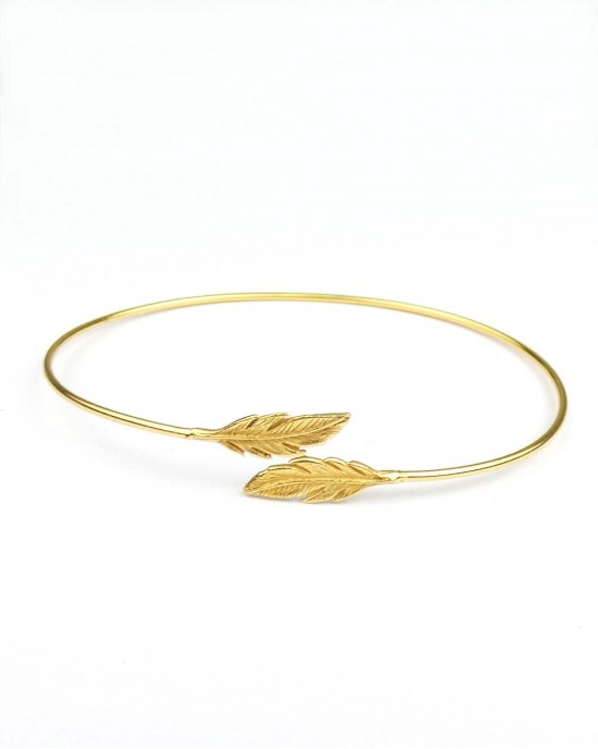 Silver Feather Bangle, Gold Plated - BRACELETS & BANGLES