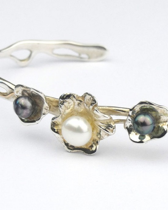 Silver Floral Cuff with Pearls