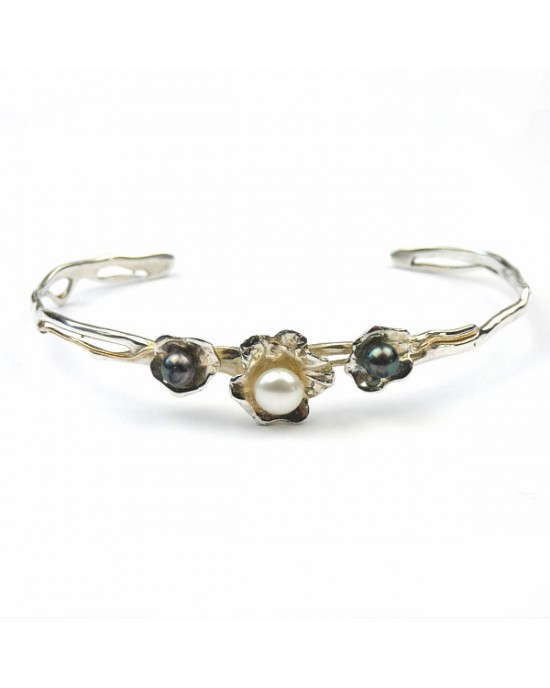 Silver Floral Cuff with Pearls - BRACELETS & BANGLES