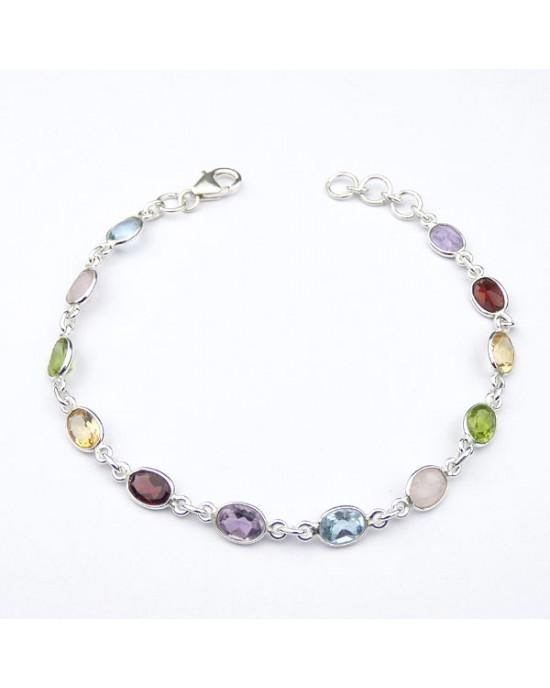 Silver Gemstone Bracelet - BRACELETS & BANGLES