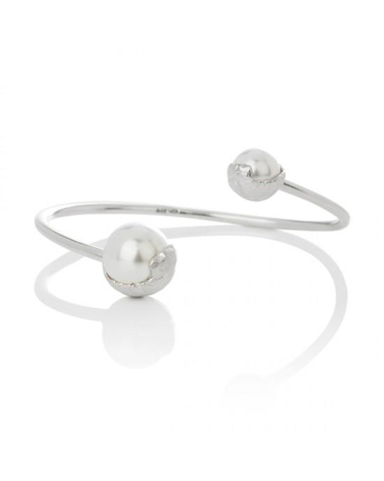 Silver Sand Swarovski Crystal Pearl Bracelet - BRACELETS & BANGLES