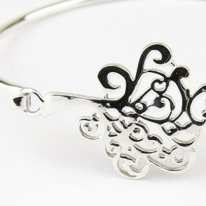 Silver Bangle with Filigree Tree Clasp