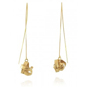 Algae Long Earrings, Gold