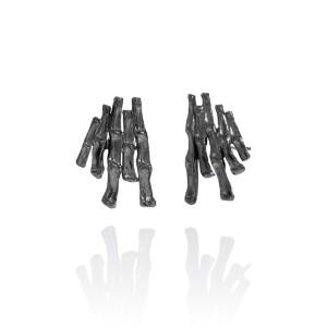 Cygnus Oxidised Silver Stud Earrings