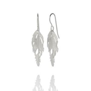 Feather Silver Drop Earrings
