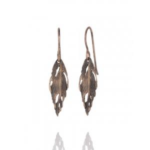 Feather Drop Earrings Bronze