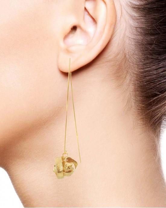 Algae Long Hook Earrings, Gold