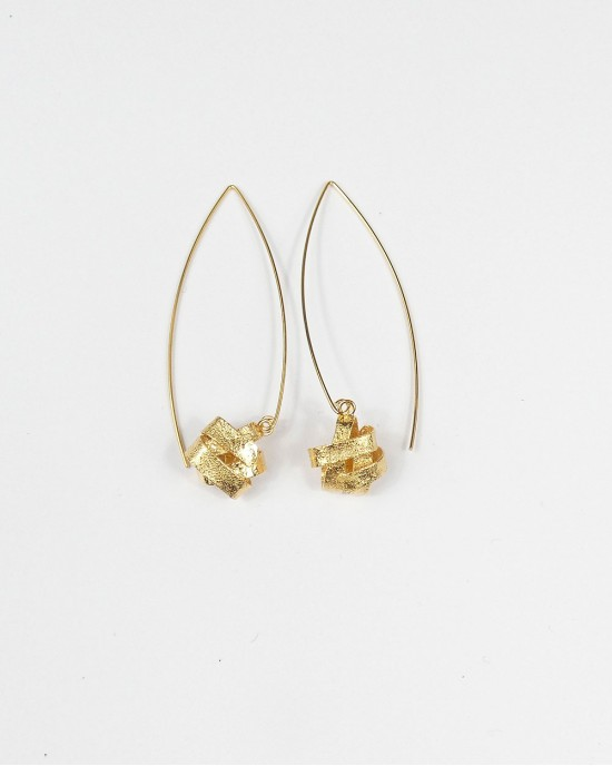 Algae Long Hook Earrings, Gold