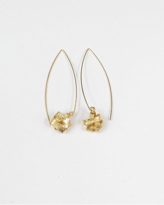 Algae Long Hook Earrings, Gold - EARRINGS