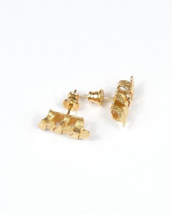 Algae Ragged Stud Earrings, Gold