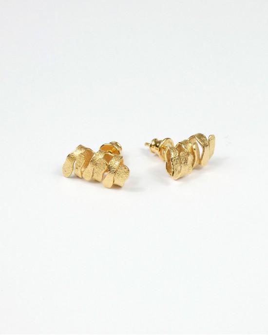 Algae Ragged Stud Earrings, Gold - EARRINGS